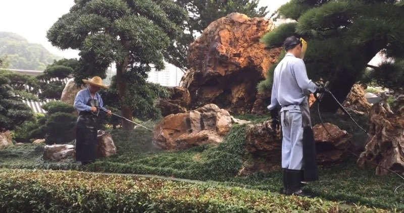Ухаживают за садом в Китае