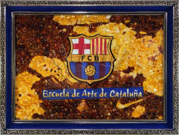 Янтарное полотно FC Barcelona студии AmberArt
