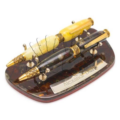 Ручки из натурального янтаря с золотой основой - AmberArt