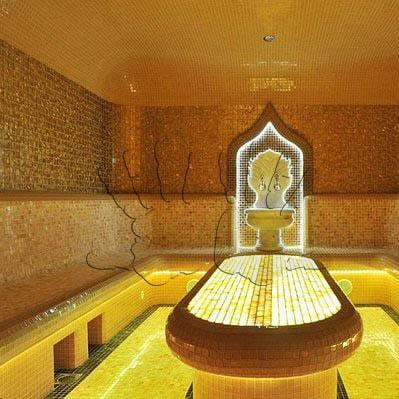 Янтарная плитка в интерьере бани — AmberTiles
