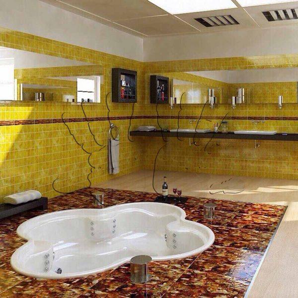 Инкрустация интерьера янтарем — Ванная комната — AmberTile