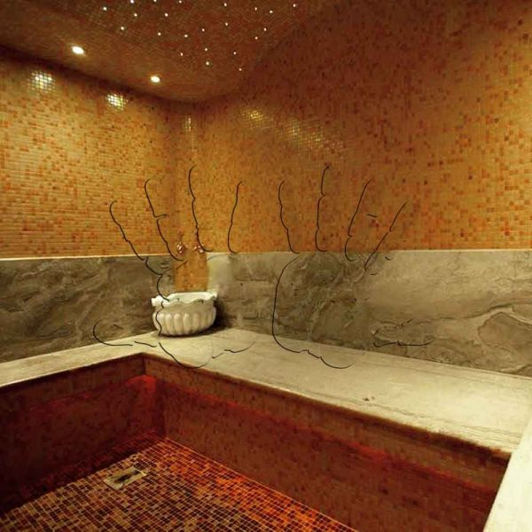 Инкрустация интерьера янтарем — Баня — AmberTile